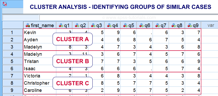 Cluster Analysis Data View