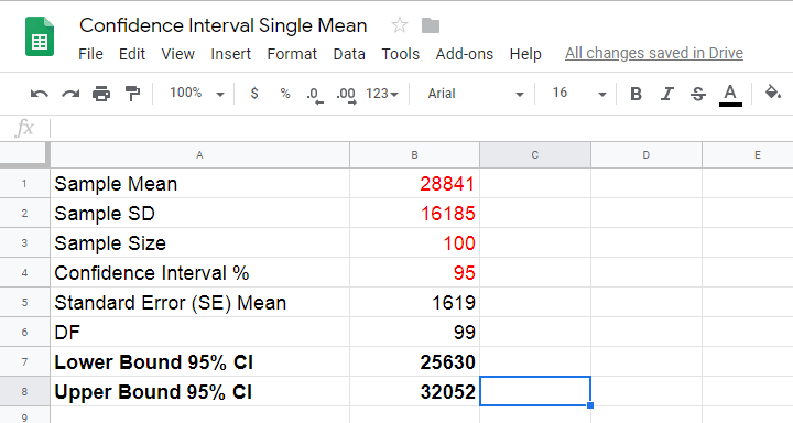 Confidence Interval Calculation Googlesheets