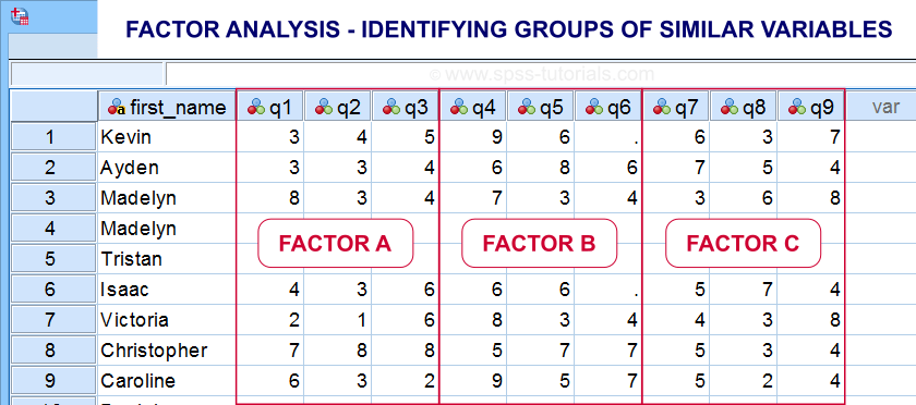 Factor Analysis Data View