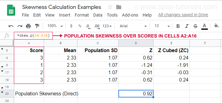 Population Skewness Calculation Example Googlesheet