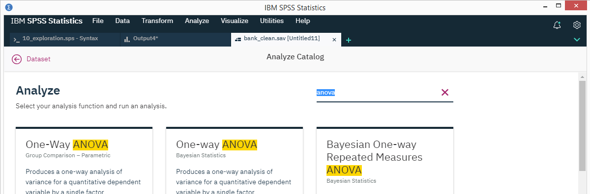 SPSS 26 Analyze Catalog ANOVA