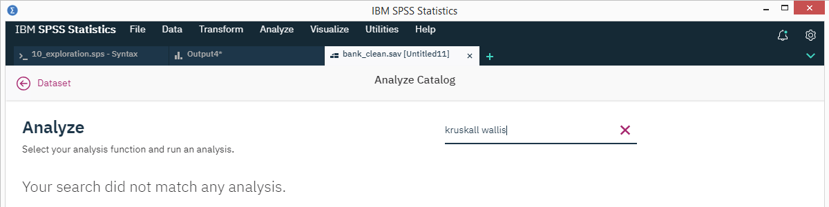 SPSS 26 Analyze Catalog Kruskall Wallis