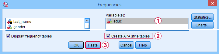 SPSS 27 Apa Frequencies Dialog