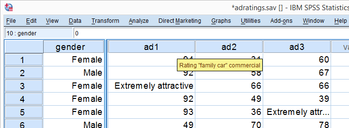 Adratings Data Variable View