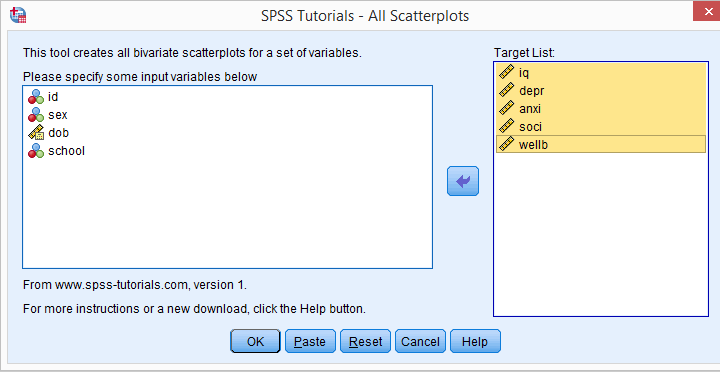 SPSS All Scatterplots Tool