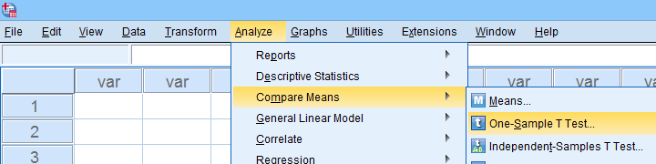 SPSS Analyze Compare Means One Sample T-Test
