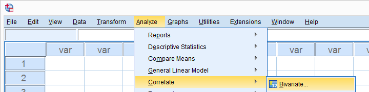 SPSS Analyze Correlate Bivariate