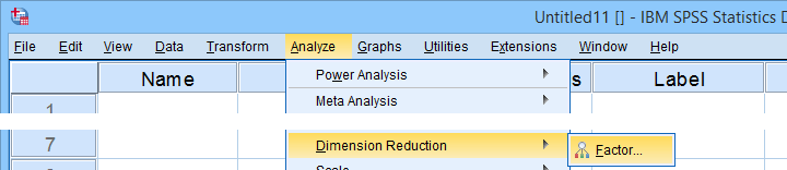 SPSS Analyze Dimension Reduction Factor