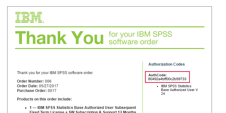 SPSS Authcode Example