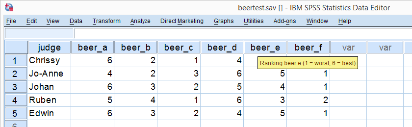 SPSS Beertest Dataview