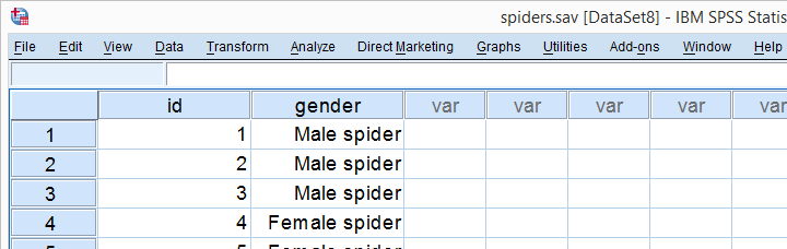SPSS Binomial Test - Spider Data