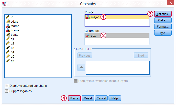 SPSS Chi Square Independence Test Dialog