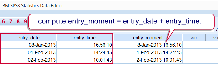SPSS - Combine Date and Time into Datetime Variable Example