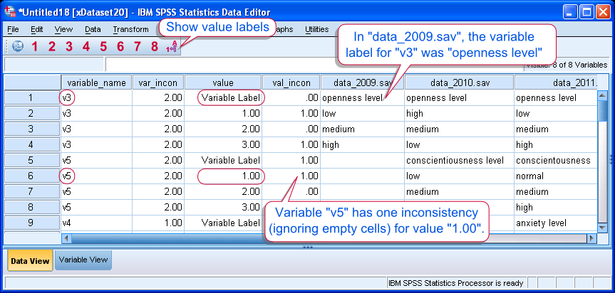 SPSS Compare Dictionaries Tool Result