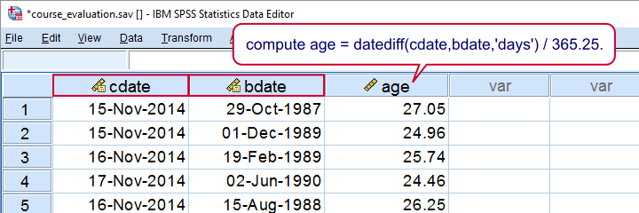SPSS Compute Age Example