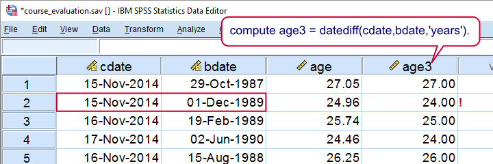 SPSS Compute Age Wrong Way