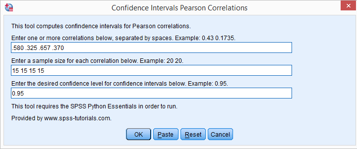 SPSS - Confidence Intervals for Correlations Tool - Dialog