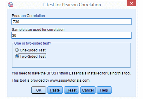 SPSS Correlation T-Test Tool
