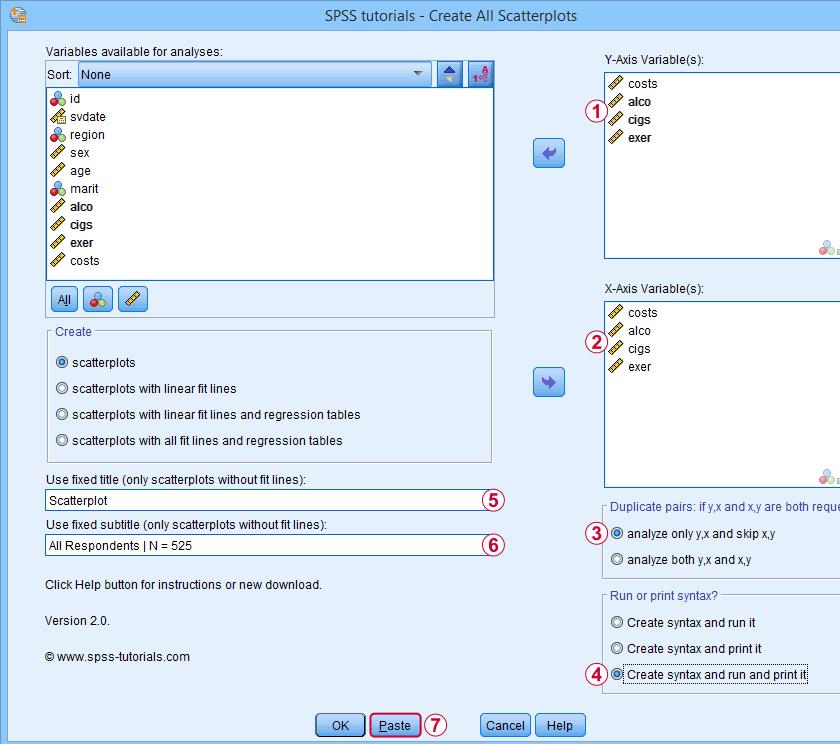 SPSS Create All Scatterplots Tool Dialog 1