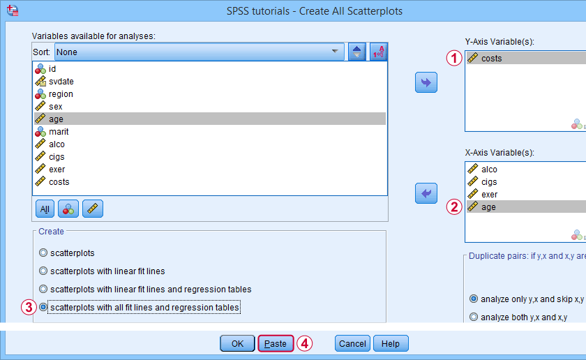 SPSS Create All Scatterplots Tool Dialog 2