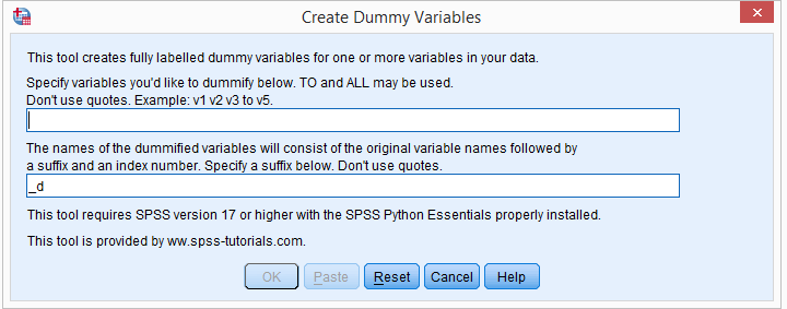 SPSS Create Dummy Variables Tool