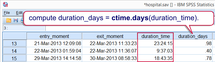 SPSS CTIME on Datetime Example