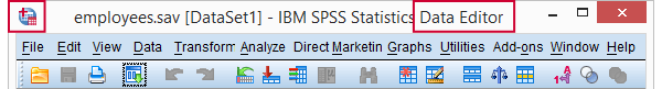 SPSS Data Editor Title Bar