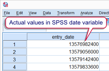 spss date variables quick introduction. Black Bedroom Furniture Sets. Home Design Ideas