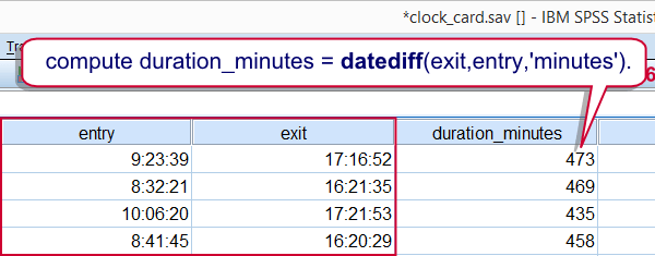 SPSS Datediff Example