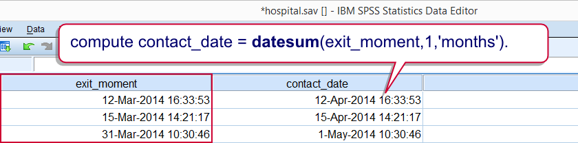 SPSS Datetime Datesum Example