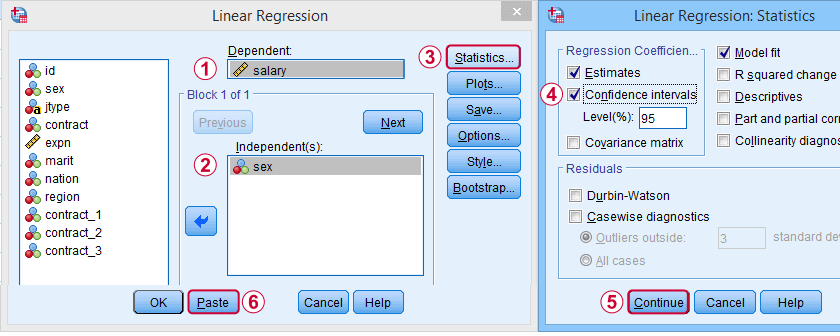 SPSS Dummy Variable Regression Dialog 0