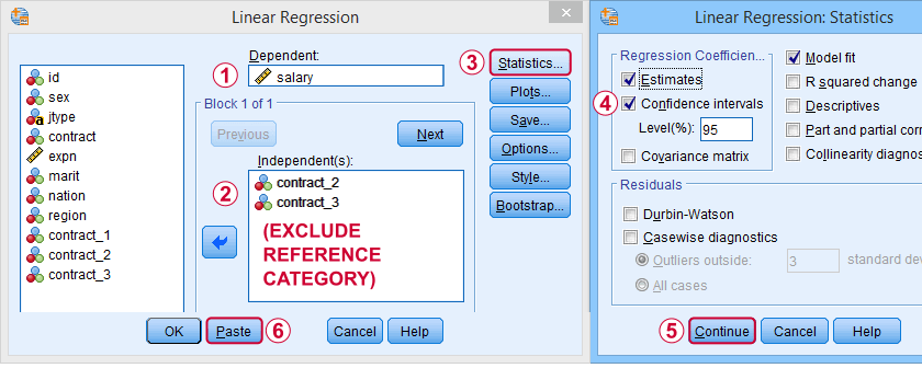 SPSS Dummy Variable Regression Dialog 1
