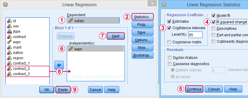 SPSS Dummy Variable Regression Dialog 2