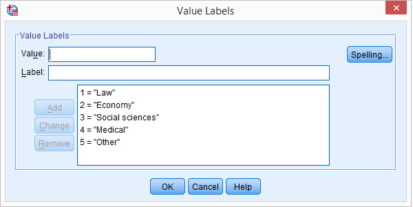SPSS Dummy Variables Tool - Value Labels