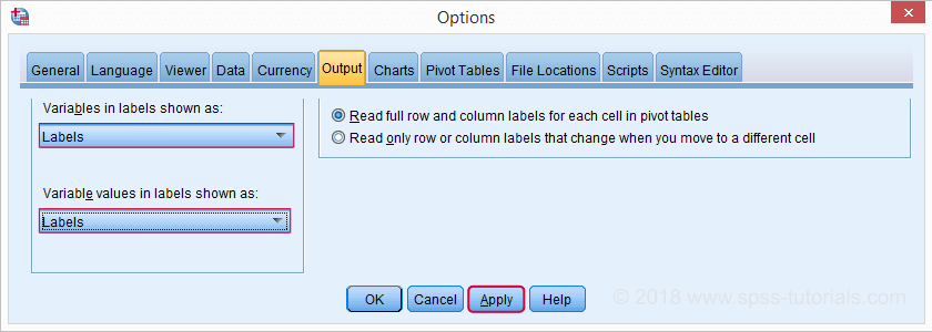 SPSS - Show Labels in Output from Options Menu