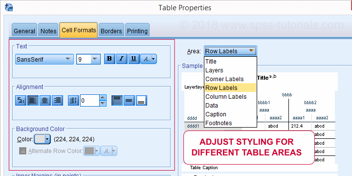 SPSS Edit Tablelook