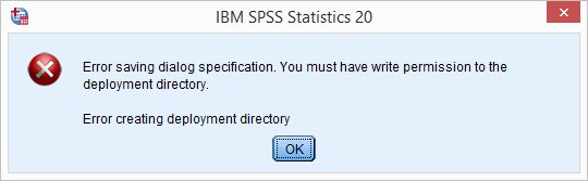 SPSS Error Saving Dialog Specification