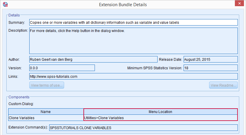 SPSS Extension Bundle Details
