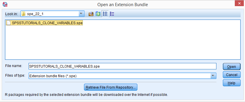 SPSS Extension Command Installation