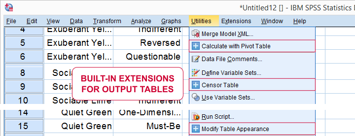 SPSS Built-In Extensions for Output Tables