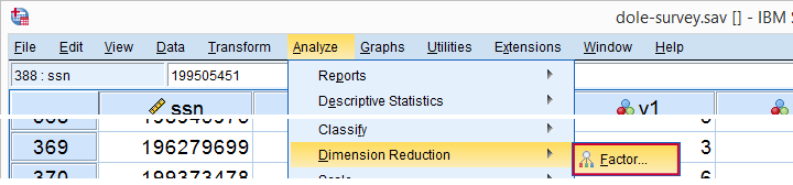 SPSS Factor Analysis Menu
