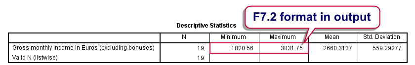 SPSS FORMATS Command in Output 1