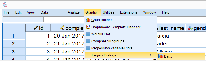 SPSS Graphs Legacy Dialogs Bar Menu