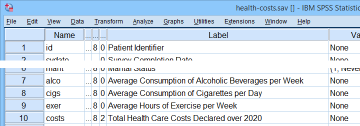 SPSS Health Costs Variable View