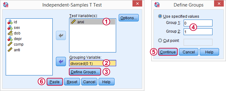 SPSS Independent Samples T Test 1 Dialog