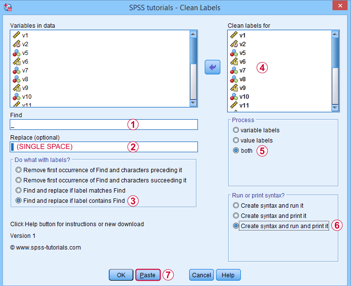 SPSS Label Cleaning Tool Dialog 1