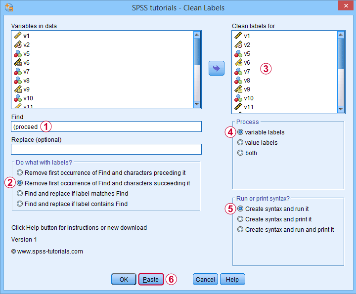SPSS Label Cleaning Tool Dialog 2