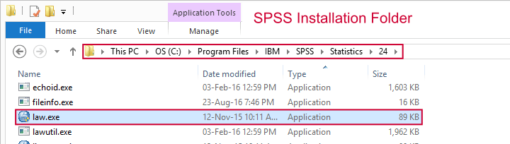 SPSS Law.exe in Installation Folder