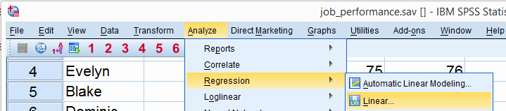 SPSS Regression Menu 1