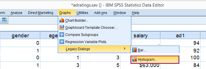 SPSS Mann-Whitney Test - Split Histogram Menu